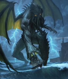I have no memory of deciding to paint our dark lord and saviour Cthulhu. Cthulhu Art, Lovecraft Cthulhu, Hp Lovecraft, Call Of Cthulhu, Cthulhu Tattoo, Fantasy Creatures, Mythical Creatures, Arte Do Pulp Fiction, O Kraken