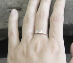 Initial name ring Handwriting font - Sterling silver | names ring