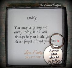Father Of The Bride Keychain Always Your Little Gift From To Daddy Daughter Dad On Wedding Day This Is Such A Sweet And Simple