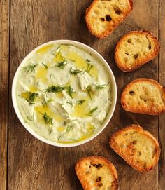 This Herbed Feta Dip is rich and creamy. It is the perfect dip for croutons, vegetables or crispy baked pitas. Healthy Snacks, Healthy Eating, Healthy Recipes, Delicious Recipes, Appetizer Dips, Appetizer Recipes, Guacamole, Hummus, Sauces