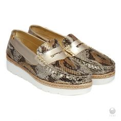 Global Wealth Trade Corporation - FERI Designer Lines Leather Loafers, Cow Leather, Metallic Gold Heels, Runway Shoes, Metallic Prints, Selling On Pinterest, Boat Shoes, Women's Shoes, Women's Accessories