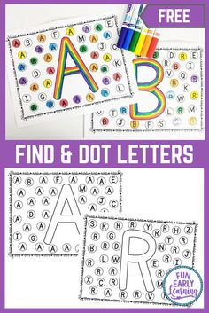 Find and Dot Matching Letters – Alphabet Activity for Early Childhood Find and Dot Matching Letters free printable! Fun letter identification activities and alphabet activities for preschool, kindergarten, schools, small groups, and at home. Preschool Writing, Preschool Letters, Learning Letters, Preschool Kindergarten, Alphabet Letters, Kindergarten Literacy Centers, Alphabet Board, Home School Preschool, Alphabet Games For Kindergarten