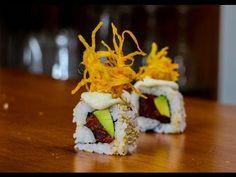Spicy tuna roll  Mince 100g (4oz) tuna; mix in 3t sriracha; 120g sushi rice spread over 1/2 sheet nori