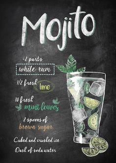 Displate Poster Mojito mojito and Drink poster cocktail recipes Mojito Food & Kitchen Poster Print Cocktail Drinks, Fun Drinks, Yummy Drinks, Alcoholic Drinks, Beverages, Mojito Alcohol, Alcohol Drink Recipes, Mojito Drink, Pina Colada