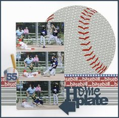 baseball scrapbook layouts | Baseball layout by Carolyn Lontin