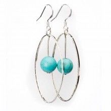 Earring-Elemental-Sterling Silver w/Turquoise Drop ~ Only $9.36!