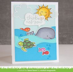 Critters In The Sea Thinking of You - Nichol Magouirk w/Lawn Fawn Stamps & Dies