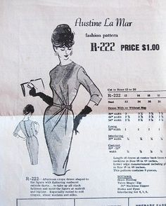 Vintage 1950s Designer Mail Order Sewing Pattern by LetYourselfSew, $48.00