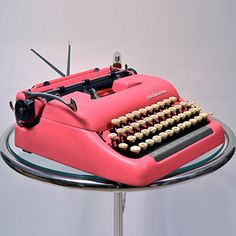 pink vintage typewriter