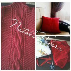 Не спешите выбрасывать старый свитер.Из него можно сшить красивую подушку,которая создаст уют и тепло в Вашем доме!#подушка#рукоделие#вязание#вязанаяподушка