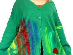 Paint cotton cardigan sweater.Abstract pattern on green