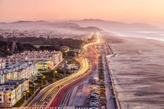 San Francisco's Ocean Beach and Great Highway along the Pacific California Coast.