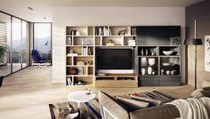 Contemporary TV wall unit / lacquered wood / walnut - MEGA-DESIGN - hülsta