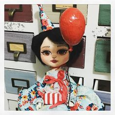 Party hat  Balloon  Gift . I think she's ready to find a good home.  #available #artdollsonly #dollartistry #dollmaking #artdoll #danita #danitaart #party #celebrationdoll