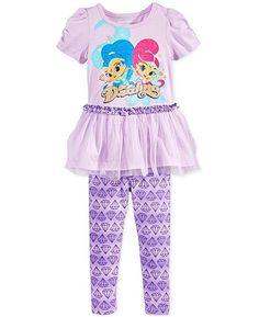 da90c96e Amazon.com: Little Girls Shimmer and Shine 2-Pc. Graphic-Print Tunic &  Leggings Set (2T): Clothing