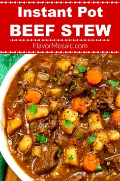 This Instant Pot Beef Stew (With A Secret Ingredient) is the BEST beef stew with fork-tender beef, potatoes, and vegetables in a rich, savory gravy that is ready in an hour. beef instant pot Instant Pot Beef Stew (With A Secret Ingredient) - Flavor Mosaic Instant Pot Beef Stew Recipe, Best Instant Pot Recipe, Instant Recipes, Instant Pot Dinner Recipes, Best Beef Stew Recipe, Stew Meat Recipes, Recipes With Beef For Stew, Skillet Recipes, Steak Recipes