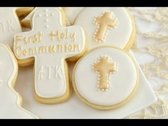 How To Decorate 1st Holy Communion Cookies - YouTube