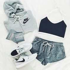 5c53f1434 Gym Outfits, Outfits For Hiking, Sporty Outfits Nike, Nike Fashion Outfit,  Lazy
