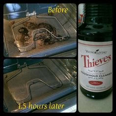 I just did this! Cleaned my oven in (slightly less than) 1.5 hours using Young Living's Thieves Household cleaner and a little elbow grease. I sprayed it on and let it sit for one hour. Then I used a grill brush to scrub and sponges to wipe. Non-toxic and the house smells great. No masks, no gloves. Easy.