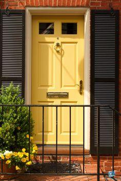 Ideas For Front Door Colors With Red Brick Yellow Black Shutters Yellow Front Doors, Front Door Paint Colors, Painted Front Doors, House Front Door, Glass Front Door, House Doors, Front Porch, Front Row, Exterior Doors
