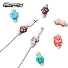 Free Shipping 10pcs Cartoon USB Data Charger Charging Cable Saver Protector for Apple for iPhone 5 5S 5c 6 6S plus