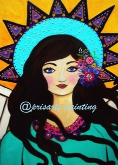 Mexican ANGEL Original Painting Folk Art Flowers PRISARTS #Abstract