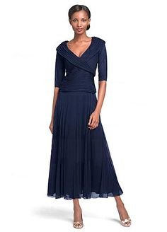 Glamorous Chiffon V-neck Neckline Tea-length A-line Mother Of The Bride Dresses With Pleats