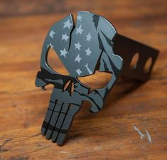The American Punisher Warrior is one of my favorite hitches. Made of steel and powder coated metallic black, we then paint a subdued American flag on the face. Request additional sizes if needed. Chevy Silverado Accessories, Jeep Wrangler Accessories, Truck Accessories, Ford Ranger, Toyota Trucks, Chevy Trucks, Pickup Trucks, Chevy C10, 4x4 Ford