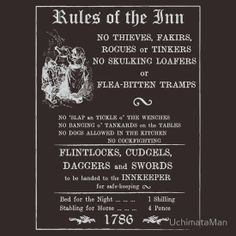 Rules of the Inn - Retro Rules of Drinking - Serving Wench (Inverted)