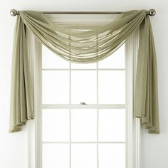 Home Expressions Crushed Voile Scarf Valance - JCPenney Scarf Curtains, Window Scarf, Sheer Curtains, Valance Curtains, Window Valances, Small Window Curtains, Decorative Curtains, Velvet Curtains, Drapery