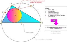 Problema de Geometría 921 (English ESL): Triangulo Rectángulo, Circunferencia Circunscrita, Inscrita, Arco, Punto Medio, Puntos de Tangencia. Nivel: Educación Secundaria, Pre-Universitaria, Bachillerato.