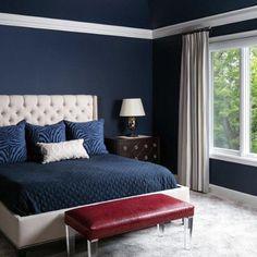 Navy Blue Bedrooms, Blue Master Bedroom, Blue Bedroom Walls, Navy Blue Walls, Blue Bedroom Decor, Blue Rooms, Master Bedroom Design, Bedroom Colors, Master Bedroom Color Ideas