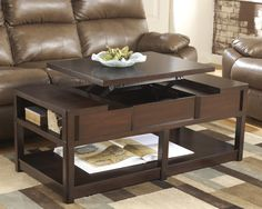 Coffee Table Square Wooden Table Can Be Raised And Carpet Complexion And Brown Sofa And Atlas And Stone Walls