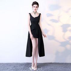 Elegant Party Dresses 2017 Black Asymmetrical A-Line / Princess Shoulders Sleeveless Backless Formal Dresses