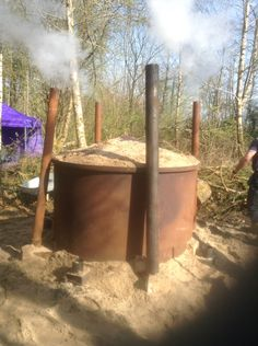 Charcoal and biochar kiln in our Myddfai Coppice. @charcoalchaps