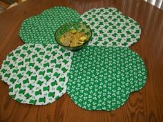 St. Patrick's Day table topper  four leaf by ExpressionQuilts