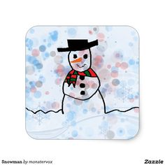 Snowman Square Sticker #Snowman #Snow #Snowflake #Winter #Holiday #Christmas #Merry #Xmas #Sticker