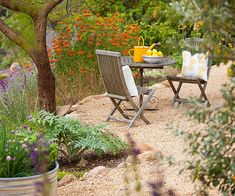 Go Gravel or crushed brick for a less expensive small seating area (don't forget the underlay to block weeds).