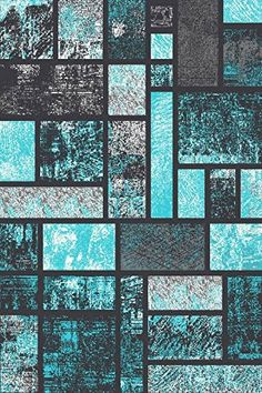 T1007 Turquoise Gray Black White 7 10 X 2 Abstract Modern Area Rug