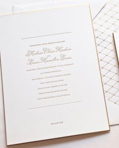 Simple and Gold Wedding Invitation