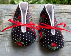 Upcycled Baby Shoes Fabric Shoes Baby Shower ♥ by SewItWasByJudy, $12.00