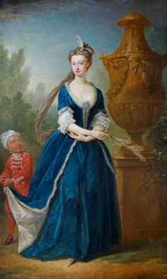 Mary Elizabeth Davenport, Mrs John Mytton of Halston, with Her Page by  John Vanderbank,c. 1735