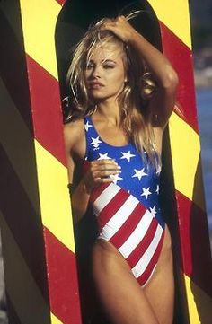 "pam-anderson:  Pamela in a ""Baywatch"" photoshoot, 1995, photographed by Kim Carlsberg"