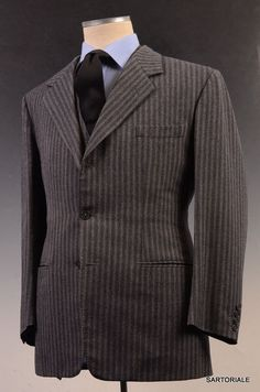ANDERSON & SHEPPARD Savile Row Bespoke Gray Striped 3 Piece Wool Suit US 40-42