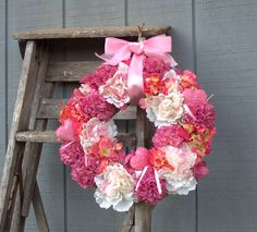 valentine sweetheart wreath, pink flowers and hearts