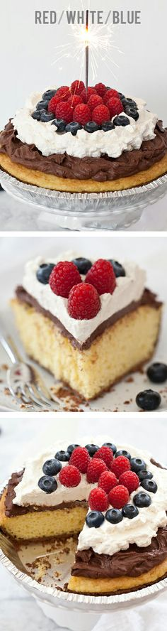 Red White and Blue Cake Pie with chocolate mousse and fresh berries on foodiecrush.com #cake #pie #4thofjuly #birthdaypie