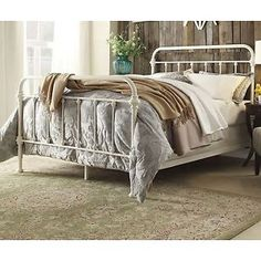 Antique-White-Iron-Metal-Bed-Frame-Queen-Headboard-Victorian-French-Furniture