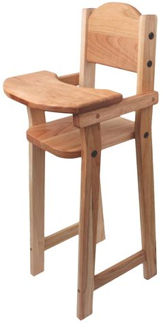 "Camden Rose Cherry Wood Doll High Chair, Flat Pack, 30"" tall"