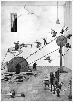 The Lancing Wheel for teaching Lancers how to lance – Mr Heath Robinson. Shaun Tan, Heath Robinson, John Bauer, John Tenniel, Aubrey Beardsley, Quentin Blake, Sculpture Projects, Up Book, Love Illustration