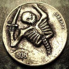 Eric Truitt - Fallen Warrior Hobo Nickel, Coin Art, Skull And Bones, Coins, Carving, Skeletons, Skulls, Darkness, Emo